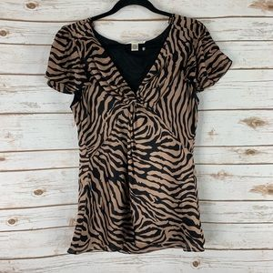 Diane Von Furstenberg Animal Print top blouse 12
